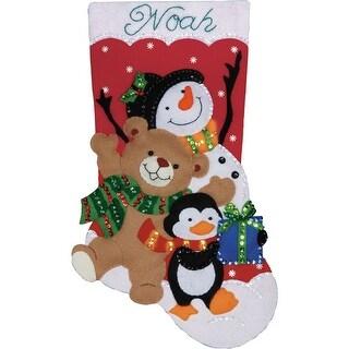 "Holiday Friends Stocking Felt Applique Kit-18"" Long"