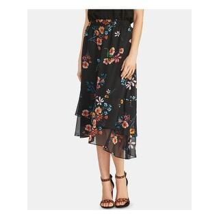 RACHEL ROY Womens Black Floral Midi Pleated Skirt  Size S