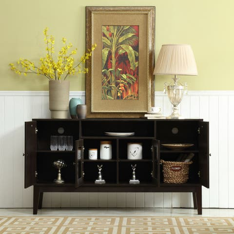 Black Wood 60-inch TV Stand Console with Shelves and Cabinets, Glass Door