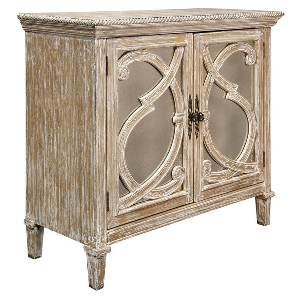 """StyleCraft SC-DCA662 36"""" Wide Wood Accent Cabinet with Adjustable Shelves - Weathered Taupe"""