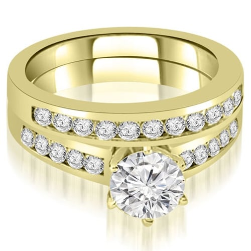 1.65 cttw. 14K Yellow Gold Channel Set Round Cut Diamond Bridal Set