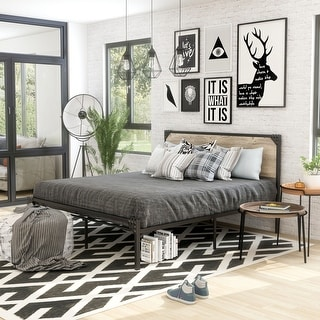 Furniture of America Aramana Industrial Steel Platform Bed