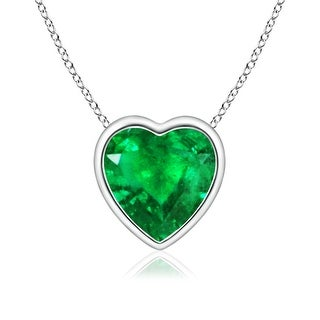 Angara Bezel Set Solitaire Heart Shaped Emerald Pendant - Green