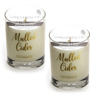 Mulled Apple Cider Premium Candle, Natural Soy Wax Long Burn (2 Pack)