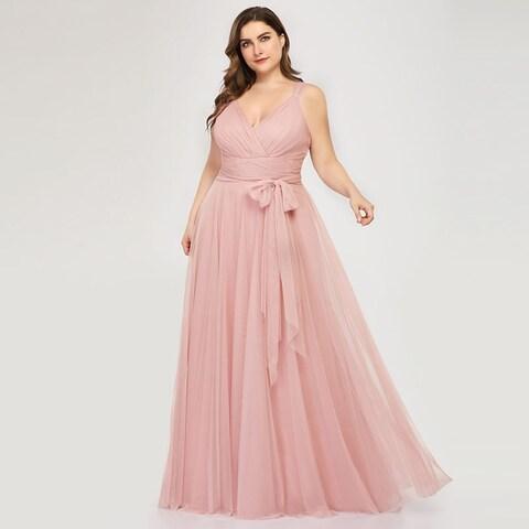 Ever-Pretty Womens Tulle Long Elegant Plus Size Bridesmaid Formal Evening Dress 73032