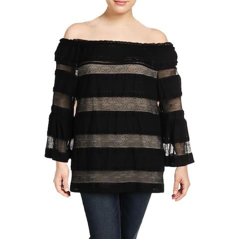 Rachel Rachel Roy Womens Plus Blouse Striped Off-The-Shoulder