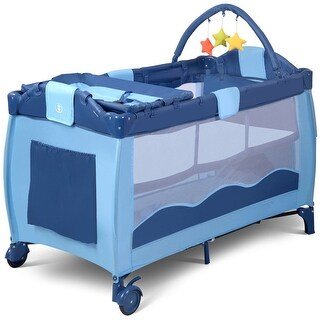 Link to Portable Baby Crib Playpen Playard Pack Travel Infant Bassinet Bed Blue Similar Items in Activity Gear