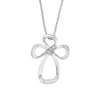 Jessica Simpson Cross Pendant in Sterling Silver with Diamonds