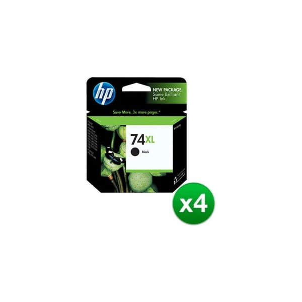 HP 74XL High Yield Black Original Ink Cartridge (CB336WN)(4-Pack)