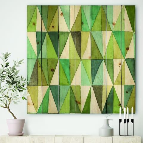 Designart 'geometric Green Triangle III' Mid-Century Modern Transitional Print on Natural Pine Wood - Blue