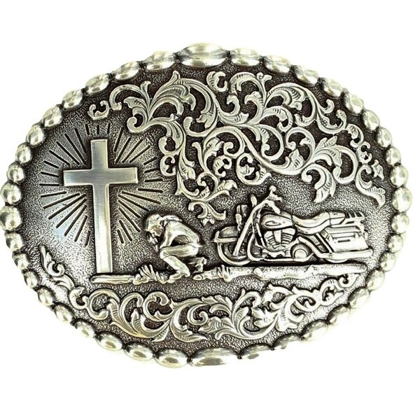 Nocona Western Belt Buckle Mens Motorcycle Cowboy Praying Silver - 3 7/8 x 3 1/16