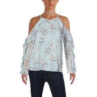 Aqua Womens Blouse Floral Print Cold Shoulder