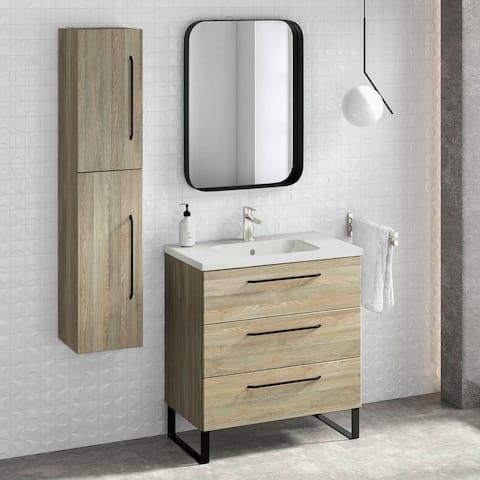 "32"" Bathroom Vanity Cabinet + Ceramic Sink Set Denver W 32 X H 35 X D 18 in Wf447 Toasted Oak"