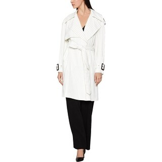 Link to BCBG Max Azria Womens Aurora Trench Coat Pinstripe Belted - White Pinstripe Similar Items in Women's Outerwear