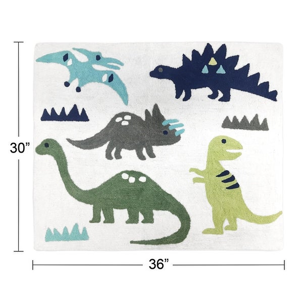 Sweet Jojo Designs Blue and Green Mod Dinosaur Collection Floor Rug