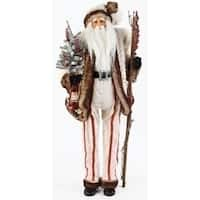 "32"" LED Lighted White Faux Fur Tall Santa Claus with Staff Christmas Figure"