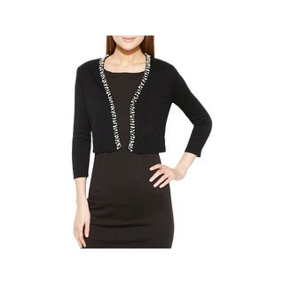 Calvin Klein Womens Petites Shrug Sweater Pearl Trim Open Front