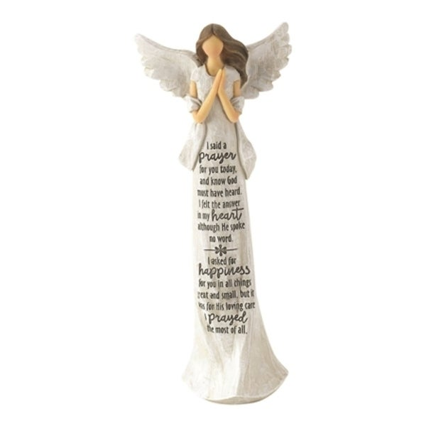 """9"""" White and Beige Classical Style Poem Printed Religious Themed Angel Figurine - N/A"""