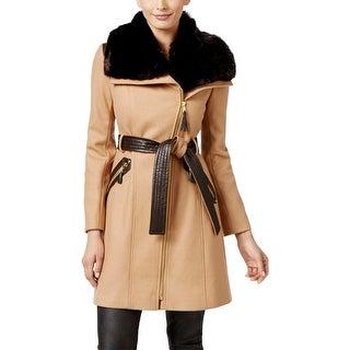 Via Spiga Womens Trench Coat Wool Faux Fur Collar - 6
