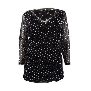 INC International Concepts Women's Printed Top - Deep Black