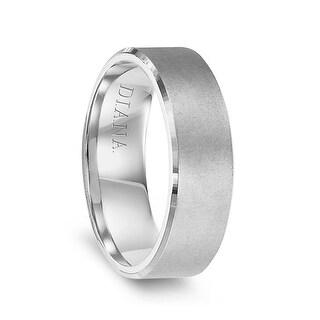 14k White Gold Men S Satin Finish Flat Wedding Ring By Diana 7mm