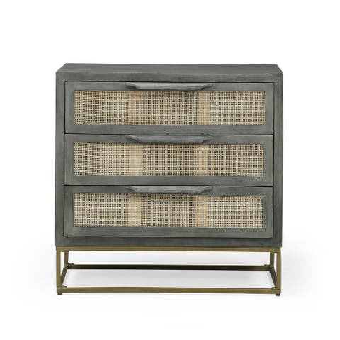 Wolfe Indoor Mango Wood and Wicker Handcrafted 3 Drawer Cabinet by Christopher Knight Home