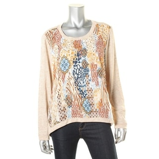 Alfred Dunner Womens Embellished Mixed media Pullover Top