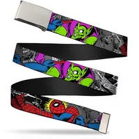 Blank Chrome  Buckle Spider Man & Green Goblin In Action Webbing Web Belt - S