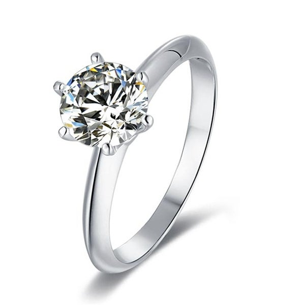 Silver 1.5 CT Round Moissanite Six Prong Solitaire Engagement Ring. Opens flyout.
