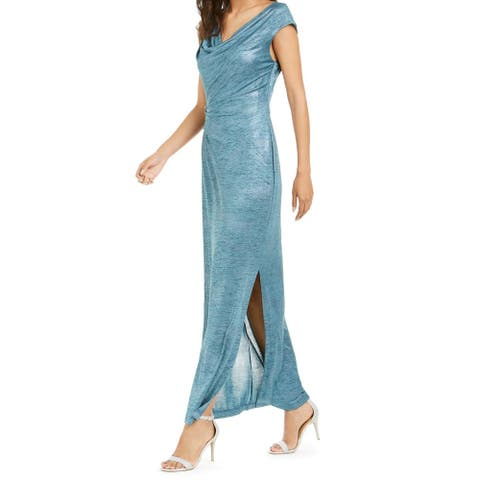 Connected Apparel Womens Gown Dress Blue Size 12 Cowl-Neck Metallic