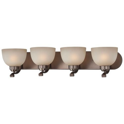 Minka Lavery 5424 4 Light Bathroom Vanity Light with Light French Scavo Shade from the Paradox Collection - harvard court bronze