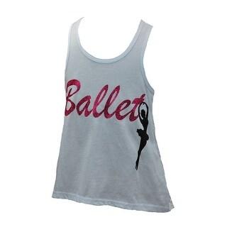"Girls White Hot Pink ""Ballet"" Glitter Lace Tank Top 8-10"