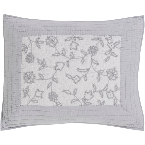 Misty Gray and Pure White Delicately Embroidered King Size Sham with Gray Border