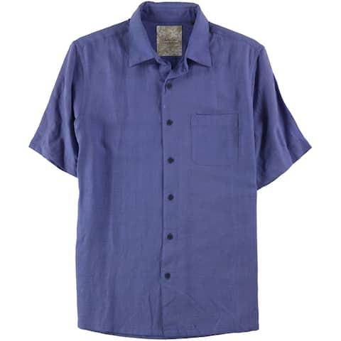 Tasso Elba Mens Crosshatch Button Up Shirt
