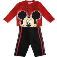 Disney Little Boys Red Black Mickey Mouse Side Stripe 2 Pc Pant Set