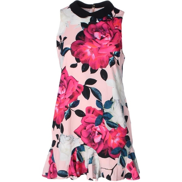 f894f97b49ff1 Aqua Womens Flounce Dress Floral Print Cap Sleeves - 14