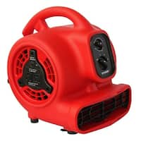 XPOWER P-200AT 1/8 HP, 600 CFM, 3 Speed Mini Air Mover with 3 Hour Timer - Red