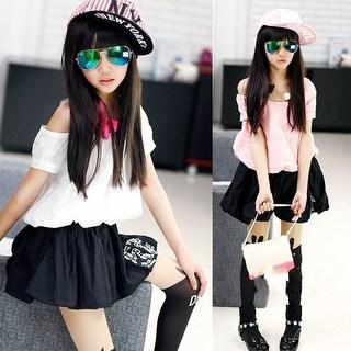 Children Baby Kids Girls summer diamond hypotenuse strapless loose short-sleeved dress waist skirt