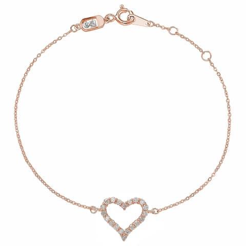 Suzy Levian 14K Rose Gold & .24 cttw Diamond Heart Solitaire Bracelet