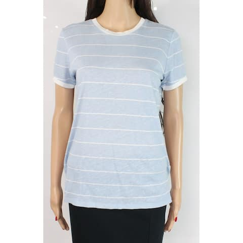 Lauren by Ralph Lauren Women Top Blue Size Large L Knit Striped Crewneck