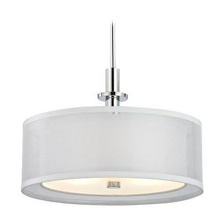 """Dolan Designs 1274 Double Organza 16"""" Wide 3 Light Single Pendant with Dual Drum Shades"""