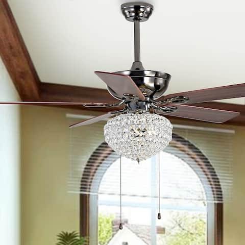 "Safavieh Lighting 52-inch Garla LED Ceiling Light Fan - 52"" W x 52"" L x 28""-33"" H"
