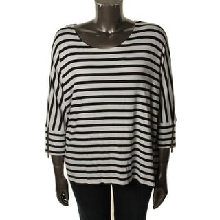 Calvin Klein Womens Plus Jersey Striped Pullover Top - 0X