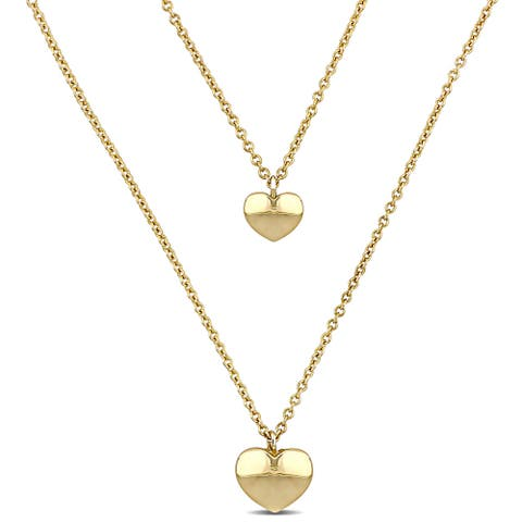 Miadora 18k Yellow Gold Double Heart Layered Necklace - 17 inch x 9.25 mm