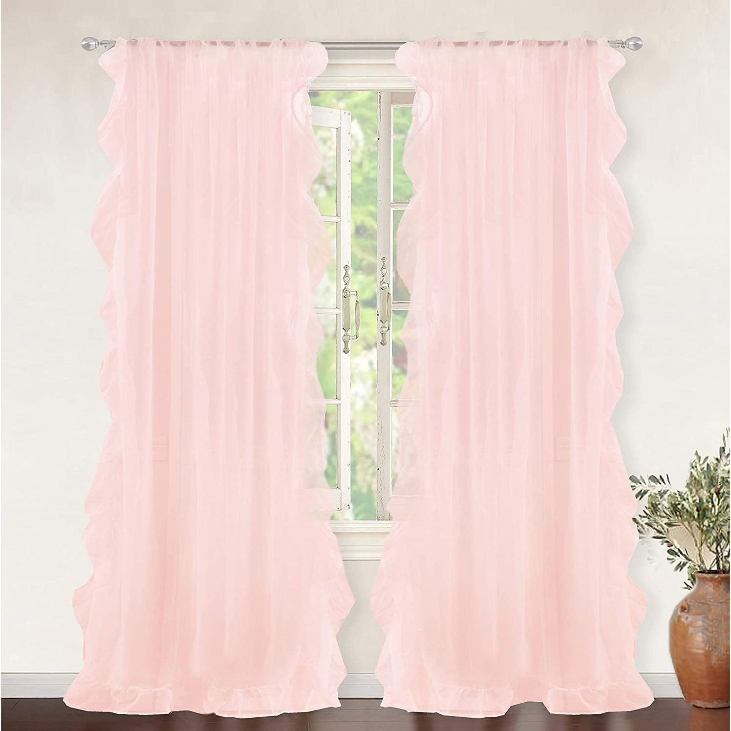 Driftaway Sophie Solid Sheer White Voile Window Curtains Ruffle Edge Rod Pocket 2 Panels 52 Width X 84 Length Overstock 32038738
