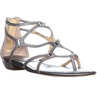 Ivanka Trump Kalia Flat Strappy Sandals, Light Gray Leather - 5.5 us