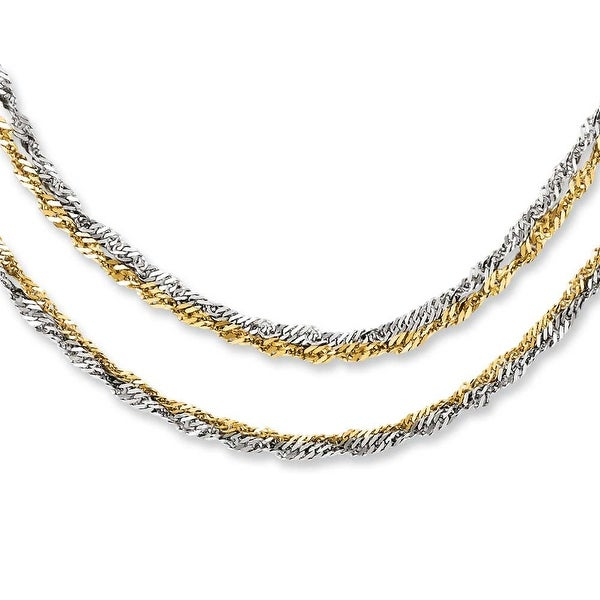 Chisel Stainless Steel Polished & Yellow IP-plated 17.5in Layered Necklace (4 mm) - 17.5 in