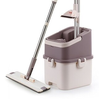Ivation Easy Rinse Self-Cleaning Flat Mop w/2-in-1 Washing & Drying Station, Bui