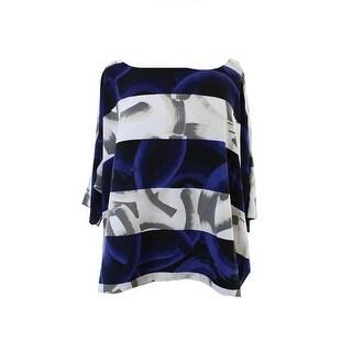 Alfani New Blue Multi Paint Stroke Print Dolman-Sleeve Top 14