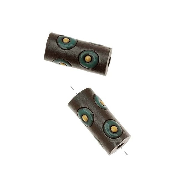Golem Design Studio Ceramic Beads, 17mm Glazed Tube Circles, 2 Pieces, Brown/Dk. Green